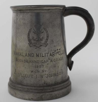 Naval and Military Club tankard awarded to Ian Johnson, 1957.