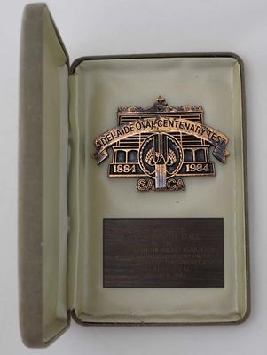 Adelaide Oval Centenary of Test Cricket award in case presented to Ian Johnson, 1984.