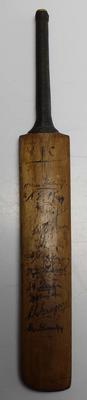 Miniature cricket bat signed by players, Victoria v Marylebone Cricket Club Team, 1935.