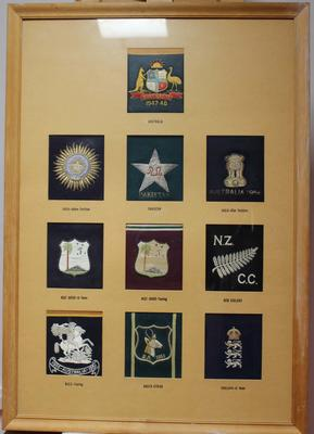 Ten framed blazer badges from various Test nations, date unknown.