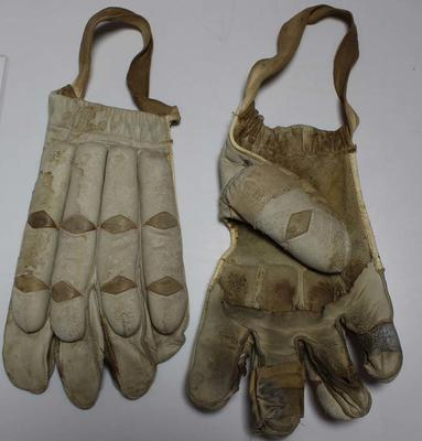 Pair of Sykes leather left-handed batting gloves, circa 1930s.