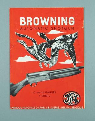 Instruction manual for the use of a Browning Automatic Shotgun, c1950s