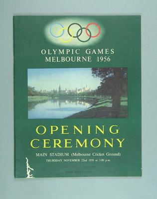 Souvenir program for the opening ceremony of 1956 Olympics Games