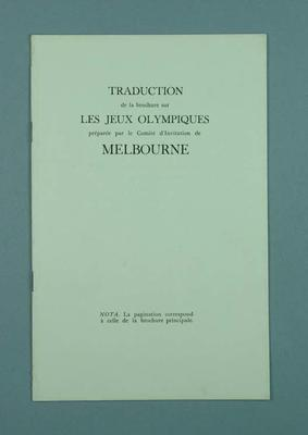 French translation of Melbourne's bid to host 1956 Olympic Games