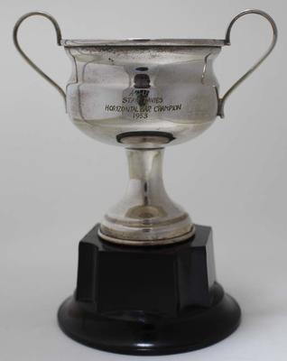 Trophy for horizontal bar champion, awarded to Stan Davies by Australian Gymnastics Union, 1953