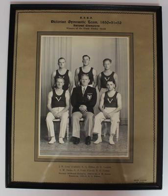 Framed photograph of Victorian gymnastic team, 1950-52