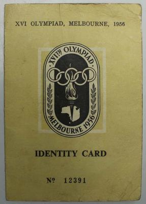 Identity card, issued to Australian gymnastic coach Stan Davies for the 1956 Melbourne Olympics