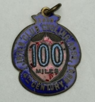 Inter Club Cycling Association century run medal, awarded to Iddo Munro, 1910