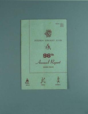 Annual report, Fitzroy Cricket Club - season 1958/59