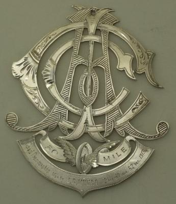 Medal awarded to Iddo Munro for50 mile road premiership, 1913