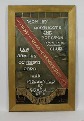 Banner, Northcote & Preston Cycling Club Road Premiership 1926