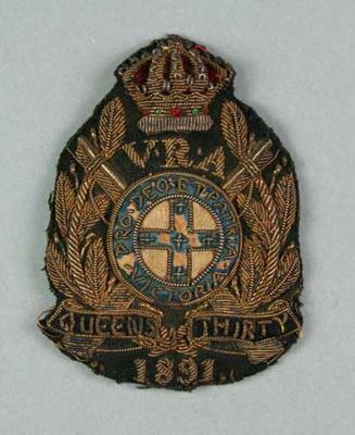 Bullion badge awarded to W Williams, VRA Queen's Thirty 1891