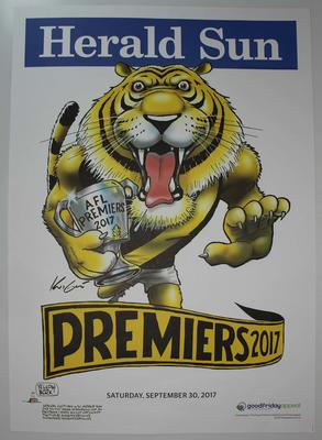 'Herald Sun' AFL Richmond Premiers poster, caricature by Mark Knight, 2017