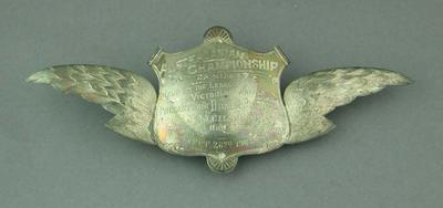 Sash brooch presented by Dunlop Rubber Co. to M. Chappell, Australasian Championship 25 Mile Race, 1908