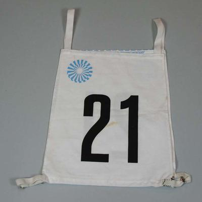 Competitor's number worn by Bill Roycroft, Munich Olympic Games, 1972