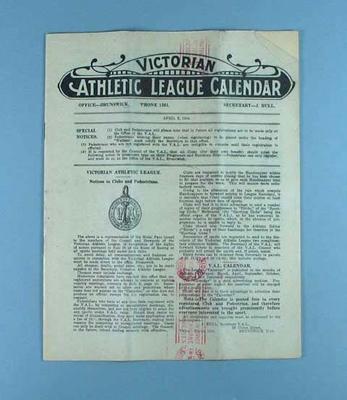 Victorian Athletic League Calendar, 2 April 1928