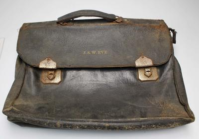 Leather satchel used by Sydney James Wallace Eve, circa 1930s.