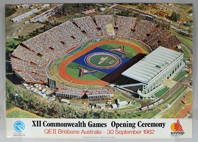 Promotional poster for the 1982 Brisbane Commonwealth Games, featuring the Opening Ceremony.