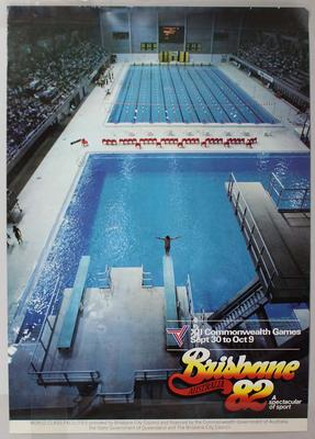 Promotional poster for 'Brisbane Australia 82', featuring the Chandler Aquatic Centre.