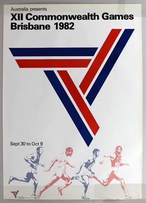 Promotional poster for the 1982 Brisbane Commonwealth Games, featuring the Games logo and athletes.