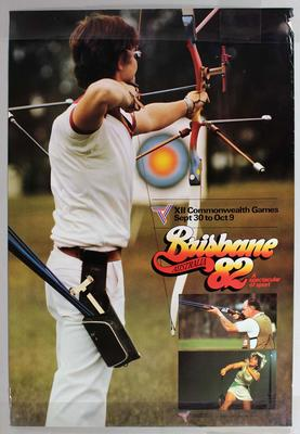 Promotional poster 'Brisbane Australia 82', featuring archery.; Documents and books; N2017.38.10
