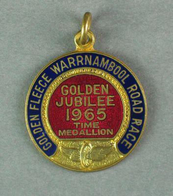 Medallion -  Golden Fleece Warrnambool  Road Race, Time Medallion, 1965; Trophies and awards; 1993.2895.68