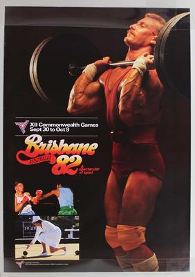 Promotional poster 'Brisbane Australia 82', weightlifting, boxing and lawn bowls.