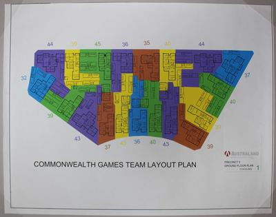 Team floor plan for Parkville athlete's village at the 2006 Melbourne Commonwealth Games