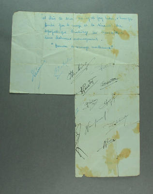 Sheet of paper handwritten in French with signatures relates to Ernest Bainbridge