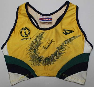 Australian team crop top issued to Nova Peris-Kneebone, Kuala Lumpur Commonwealth Games, 1998
