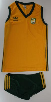 Competition singlet and shorts worn by Margot Foster during Australia's Bronze medal winning race in the Women's Coxed Four stroke, 1984 Los Angeles Olympic Games