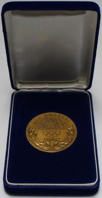 Participation medal presented to Margot Foster for competing at the 1984 Los Angeles Olympic Games