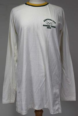 Australian rowing team t-shirt, issued by Rowing Australia to Margot Foster for the 1984 Los Angeles Olympic Games