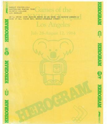 Herograms for Margot Foster and Australian rowing team, 1984 Los Angeles Olympic Games