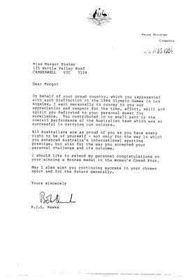 Letter to Margot Foster from Bob Hawke, 1984 Los Angeles Olympic Games