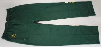 Australian team tracksuit pants worn by Margot Foster at the 1986 Edinburgh Commonwealth Games.