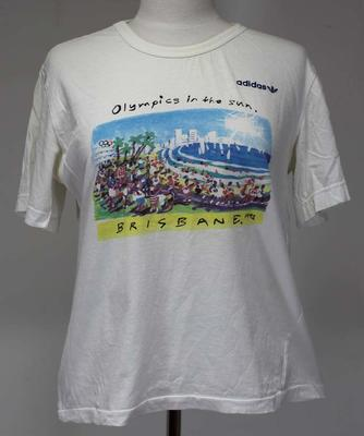 'Olympics in the Sun' T-shirt, produced for Brisbane's bid to host the 1992 Olympic Games.; Clothing or accessories; 2017.11.28