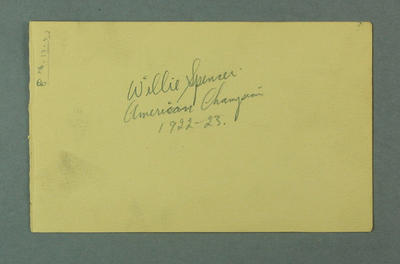 Autograph of Willie Spencer, 1923