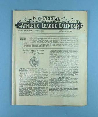 Victorian Athletic League Calendar, Dec 1928