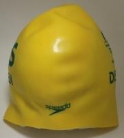 Swimming cap worn by Timothy Disken, Commonwealth Games 2018