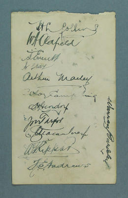 Autographs of Victorian cricketers, c1920s
