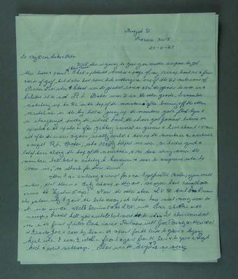 Three page letter hand written by Eric Gibaud 20 June 1987; Documents and books; 1987.1805.2