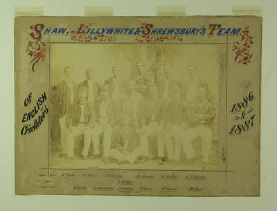 "Mounted sepia photograph of 1886/7 English Cricket Team to Australia titled  ""Shaw, Lillywhite and Shrewsbury's Team"""