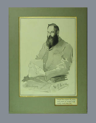 Drawing of W G Grace, by artist Walker Hodgson - 10 May 1895