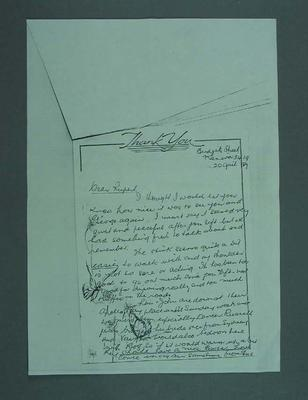 Photocopy of a single page letter written by Eric Gibaud to Rupert Bates 20 April 1987.