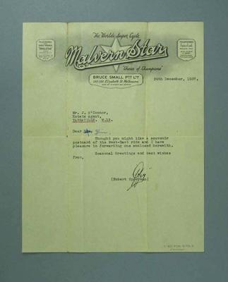Letter from Hubert Opperman to Jim O'Connor, 24 Dec 1937