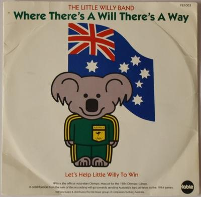 Gramophone record of the song 'Where there's a Will there's a way (to LA)' by The Little Willy Band, produced for 1984 Los Angeles Olympic Games
