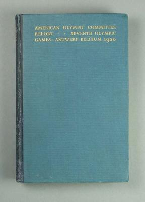 American Olympic Committee report of 1920 Olympic Games