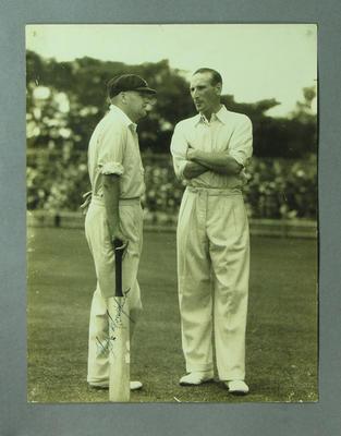 Photograph of Bill Woodfull & Douglas Jardine, c1932-33