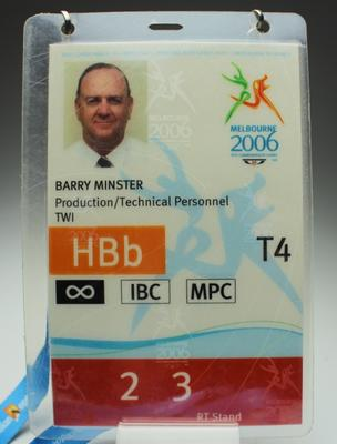 Security pass issued to Barry Minster, Melbourne 2006 Commonwealth Games